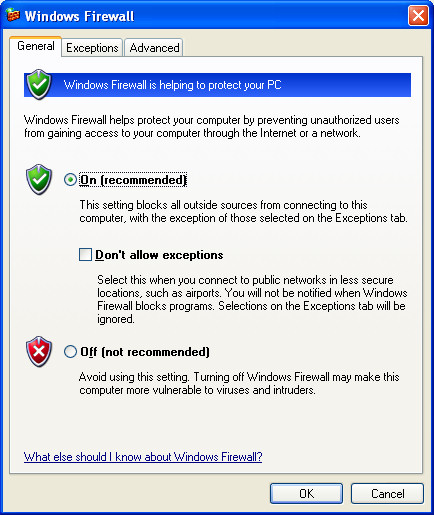 Disable the Windows XP firewall