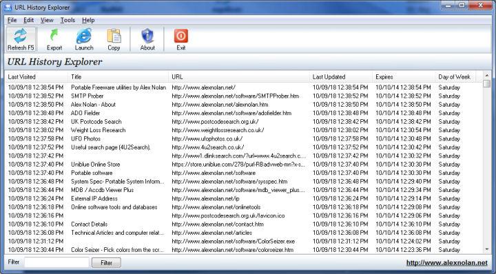 URL History Explorer 1.00 Beta full